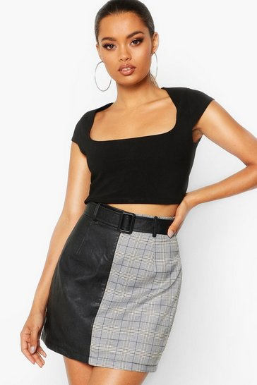 Womens Black Pu Check Belted Tailored Skirt