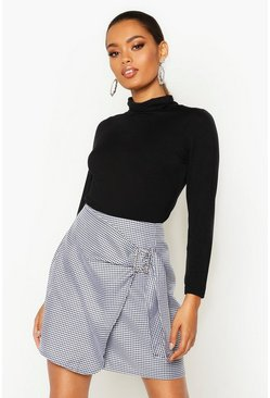 Black Dogtooth Wrap Front Buckle Detail Skirt