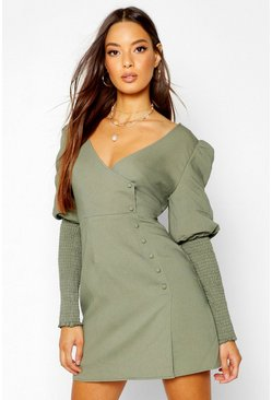 Womens Khaki Volume Sleeve Button Through Dress