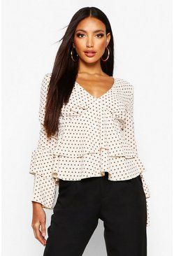 Womens Cream Polka Dot Ruffle Sleeve Top