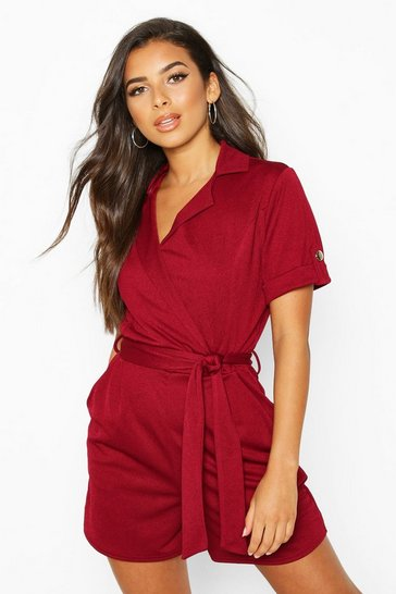 Womens Berry Belted Wrap Over Tailored Playsuit