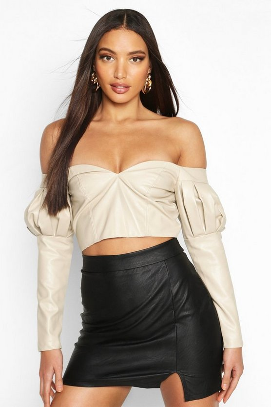 Cream Volume Sleeve Off The Shoulder Pu Top