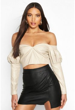 Womens Cream Volume Sleeve Off The Shoulder Pu Top