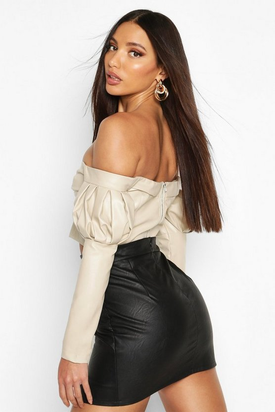Volume Sleeve Off The Shoulder Pu Top