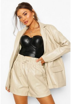 Womens Cream Oversized Boyfriend Pu Blazer