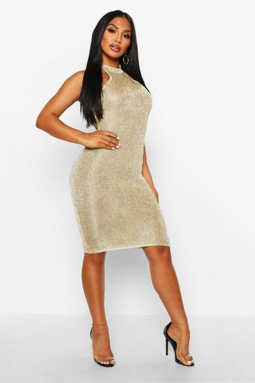 Womens Champagne Premium Knitted Metallic Bodycon Dress