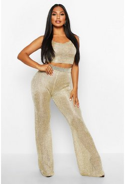 Womens Gold Premium Cropped Square Neck & Trouser Metallic Set