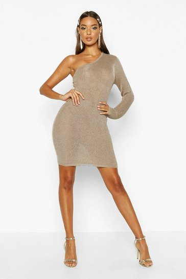 Womens Gold Premium Metallic Knitted Low Back High Neck Midi