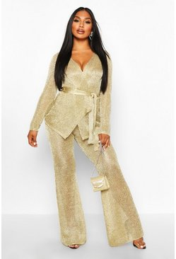 Womens Gold Premium Metallic Knitted Wrap Top & Trouser Set