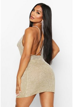 Gold Premium Metallic Diamante Cross Back Mini Skirt Set