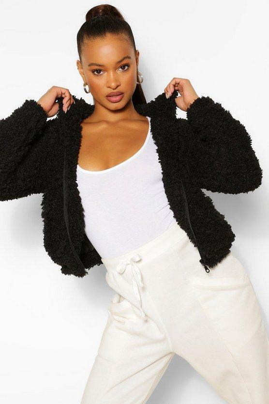 Hooded Faux Fur Teddy Jacket