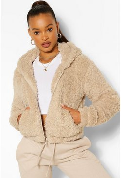 Womens Stone Hooded Faux Fur Teddy Jacket