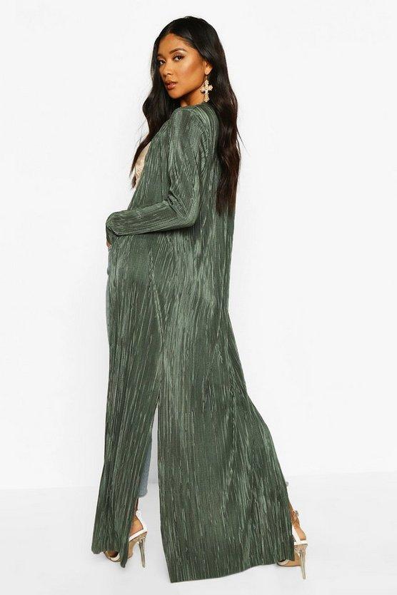 Pleated Plisse Maxi Kimono