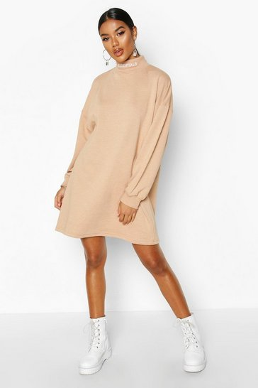 Womens Camel Essentials Embroidered Funnel Neck Sweat Dress