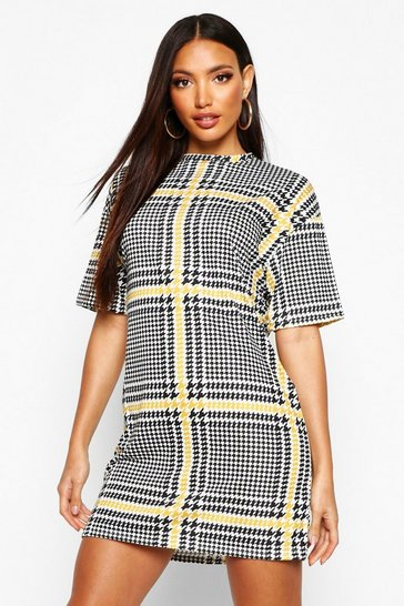 Womens Mustard T-Shirt Dress In Oversized Check