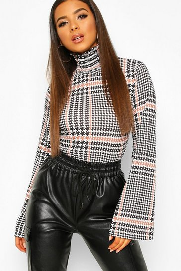 Womens Mocha Shirred Neck Blouse In Oversized Check