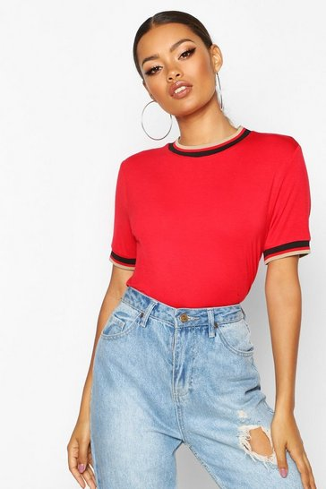 Womens Red Striped Neck & Cuff Rib T-Shirt