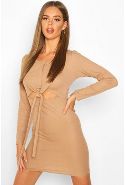Tan Long Sleeved Popper Front Tie Detail Dress