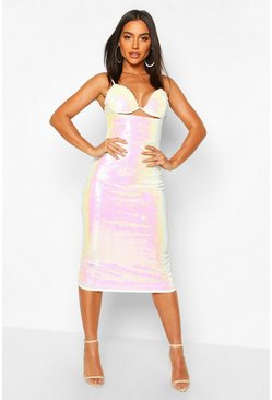 Womens White Sequin Underwire Bust Bodycon Midi Dress