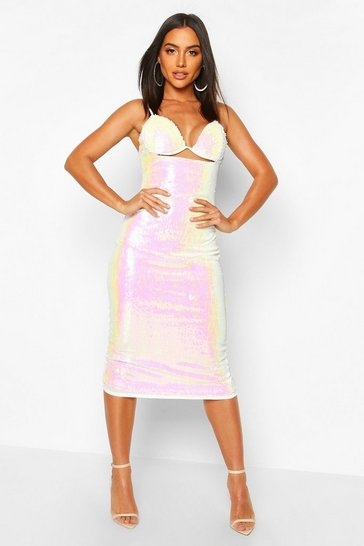 White Sequin Underwire Bust Bodycon Midi Dress