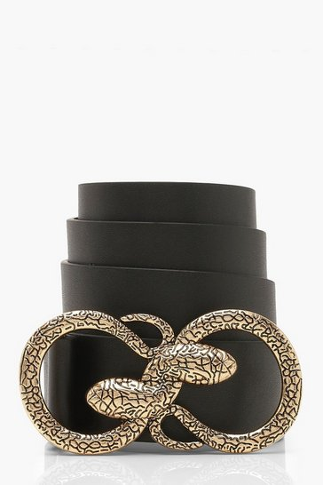 Womens Gold Double Snake Buckle Boyfriend Belt
