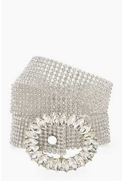 Womens Silver Diamante Buckle Chainmail Belt