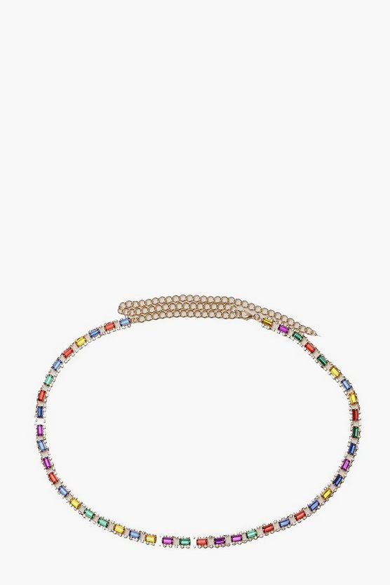 Rainbow Diamante Dainty Chain Belt