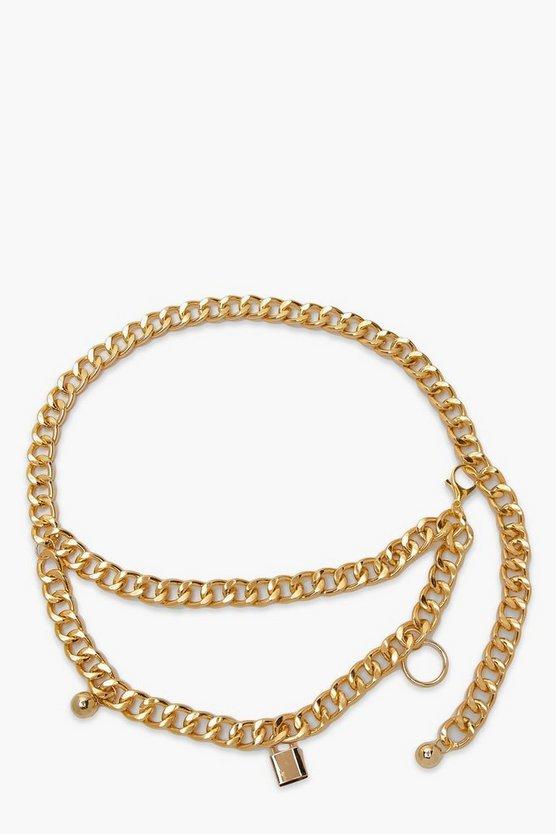 Chunky Chain Lock & Ball Waist Belt