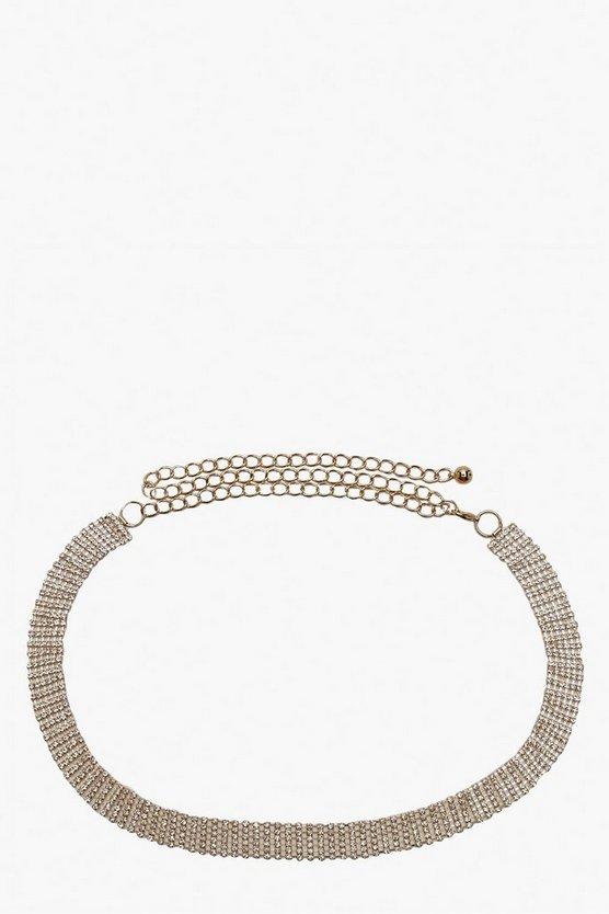 Skinny Diamante Chain Belt