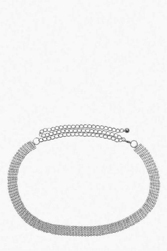 Skinny Diamante Chain Belt