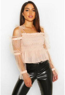 Womens Pink Mesh Organza Tie Shoulder Ruched Detail Top