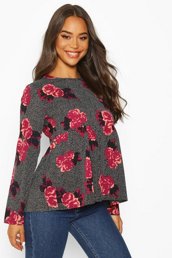 Black Mixed Floral Long Sleeve Smock