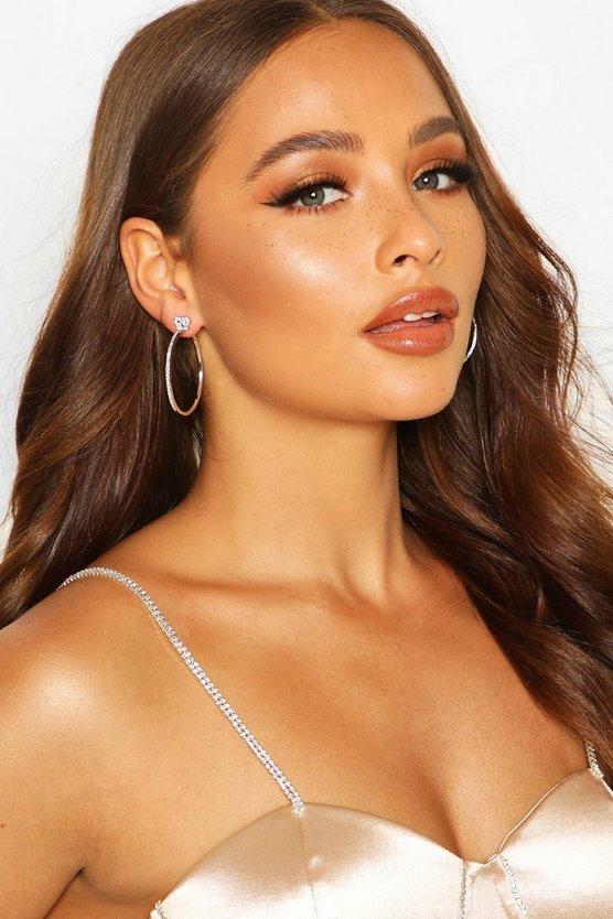 Bow Diamante Hoop Earrings