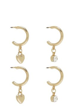 Womens Gold Diamante And Heart Mini Hoop Two Pack