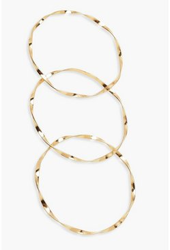 Womens Gold Twisted Bangle Multipack