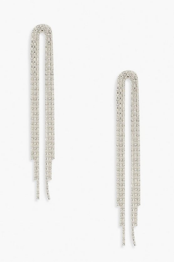Double Diamante Drop Statement Earrings