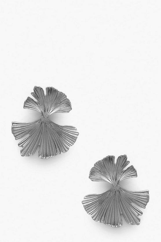 Pleated Fan Statement Earrings