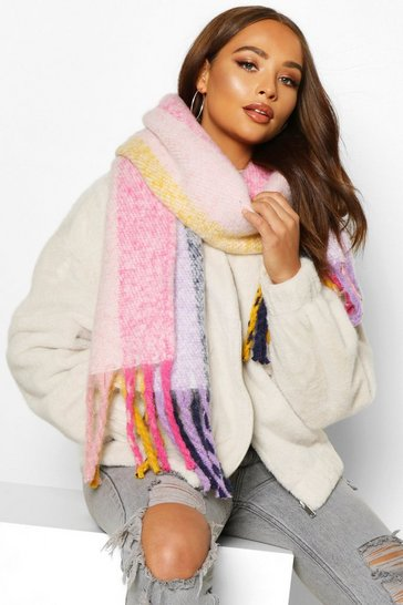Womens Multi Pastel Fringed Oversized Chunky Scarf