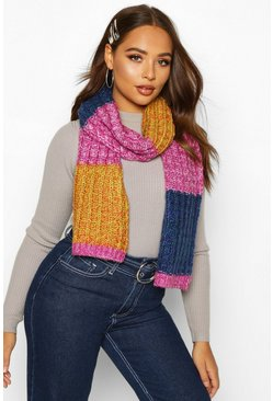 Multi Colourblock Chunky Knit Scarf