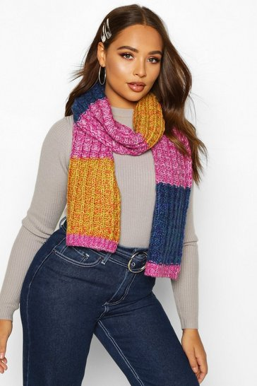 Womens Multi Colourblock Chunky Knit Scarf