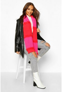 Womens Pink Colourblock Chunky Mixed Knit Scarf