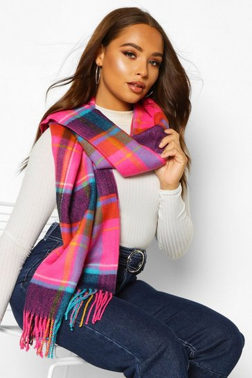 Womens Multi Bright Check Oversized Fringed Scarf