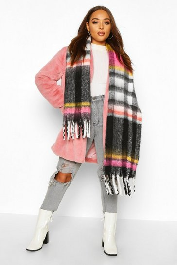Womens Black Check Fringed Oversized Chunky Scarf