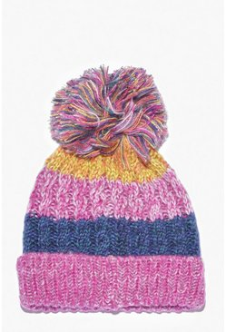 Womens Multi Chunky Stripe Faux Fur Pom Hat