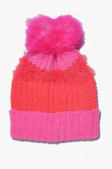 Womens Pink Colourblock Faux Fur Pom Hat