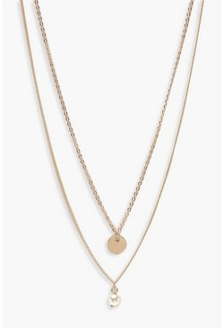 Womens Gold Circle & Pearl Simple Layered Necklace