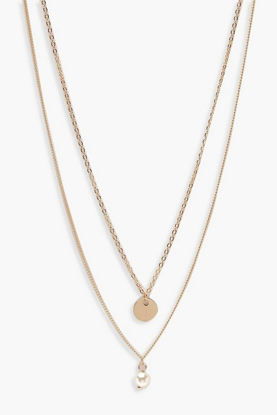 Circle & Pearl Simple Layered Necklace