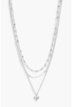 Silver Simple Heart Layered Necklace
