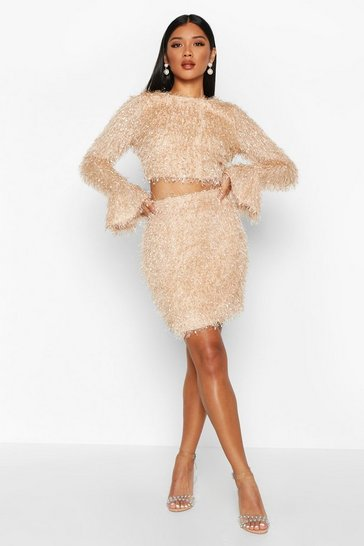 Womens Nude Feather Knit Crop Flare Co-ord Set