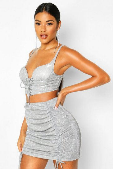 Womens Silver Glitter Metallic Lace Up Bralet & Ruched Skirt Co-ord